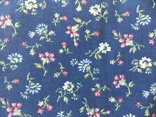 Fabric Vintage Floral Flower Garden Calico Blue Multi Nature BTY Quilting