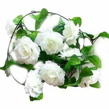 Artificial Rose Silk Flower Vine Garland Home Wall Party Wedding Decor White LW