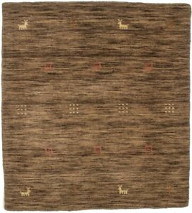 Contemporary Square Rug Modern 3X3 Hand-Loomed Solid Brown Oriental Decor Carpet