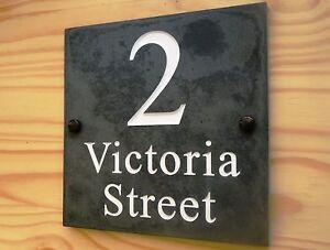 Deep Engraved Natural Slate House Door Gate Name Number Sign Plaque