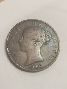 1844 VICTORIA YOUNG HEAD HALF PENNY IN FINE CONDITION
