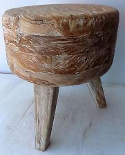 Pouf Sgabello in teak legno massello decapato bianco cm 45hx38 seduta sedia