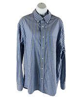 Sonoma Women Large L Button Up Top Dress Shirt Long Sleeve Blue White Striped