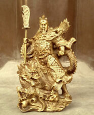Chinese heroic Guan Gong Yu Bronze Warrior God Stand in Dragon Statue