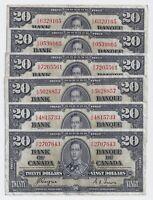 1937 $20 Canada Bank Note Prefix K/E Coyne Towers - F/VF