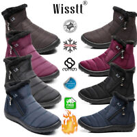 Women's Waterproof Winter Shoes Outdoor Warm Fur Lining Flat Ankle Snow Boots BJ