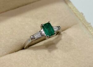 Platinum Emerald and Tapered Diamond Baguette Ring