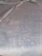 Alte Damast Tischdecke mit eingewebten Muster Blumen hellblau ca. 130 x 120 cm