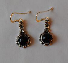 925 Sterlingsilber Ohrringe mit schwarzen Onyx Edelsteinen, runde Cabochons