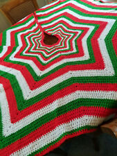 Htf Vtg 70s/80s Knit Afghan Tree Skirt Xmas Star Design Red Green White 65 Inch