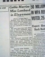 Actor CLARK GABLE & Actress Carole Lombard MARRIED Weds Marry 1939 Old Newspaper