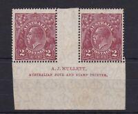 G381) Australia 1927 2d Red-brown KGV SM Wmk perf 14 Mullett imprint pair
