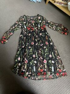 Boohoo Plus Embroidered Midi Dress Size AU22