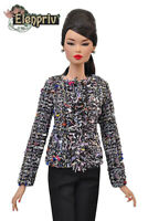 ELENPRIV multicolored tweed jacket for Fashion royalty FR:16 and similar dolls