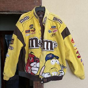 RARE Vintage Elliot Sadler M&Ms Yellow & Brown NASCAR Race Jacket Men's 3XL