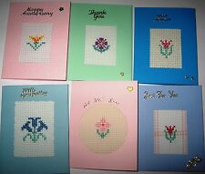 Greetings Card Completed Cross Stitch Mixed Pack of 6 cards SM2