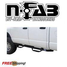 "N-Fab 3"" Cab Length Nerf Bar Steps Gloss Black For 06-08 Dodge Ram 1500 Mega Cab"