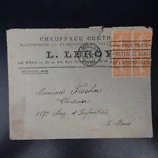 LETTRE LOCALE COVER N°158 BLOC DE 4 CAD LE MANS 1924