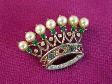 Vtg. Trifari Sterling Silver Pearl & Gemstone Rhinestone Crown Pin Brooch ..0378