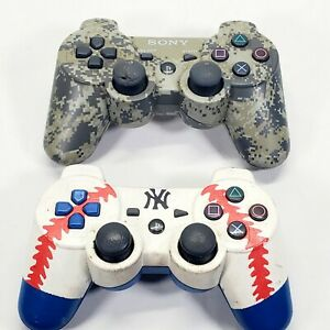 2 SONY DUAL SHOCK 3 Camo and baseball CONTROLLERS! PS3 AS IS FOR PARTS