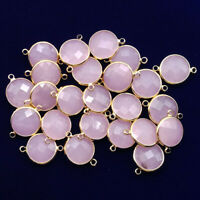 6Pcs Wrapped Faceted Rose Quartz Round Connector Pendant Bead 20x14x6mm NN1378