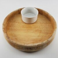 Vintage Chip and Dip Serving Set Maple Wood Sided Tray Ceramic Dip Bowl Thailand