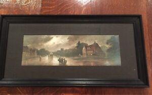Vintage Landscape  print  Art picture wood framed & Wood lining《2》 27cmx55cm