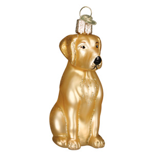 Old World Christmas YELLOW LABRADOR Lab Dog (12386)N Glass Ornament w/ OWC Box