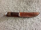 Vintage Kinfolks Fixed Blade Knife with Tooled Leather Sheath 330-4