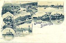 Bodensee, Mehrbild-Litho m. Bahnhof Rorschach und Friedrichshafen, 1900