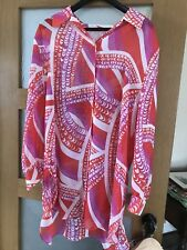Abstract Print Sheer Over Shirt,  Size UK 20 (no label)