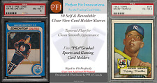 50 Perfect Fit PSA Graded Sports Card Holder Clear Sleeves 4 Mil 2x's Thicker