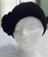 HAND CROCHETED Ladies Black Beanie, Flapper, Cloche, Skull, Ski Hat, Cap