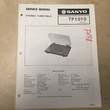 Sanyo Service Manual for the TP-1010 Turntable ~ Repair