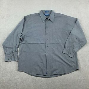 Stafford Men's Long Sleeve Button Up Shirt Size 18 36/37 Charcoal Gray Cotton