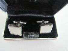 SOLID SILVER MENS CUFFLINKS BOXED