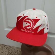 Vintage Logo Athletic Atlanta Hawks Shark Tooth Hat 90s Red White Adjustable