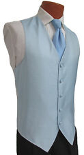 Men's Light Blue Armanno Tuxedo Vest & Long Tie Wedding Formal Prom Cruise