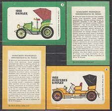 POLAND 1972 Matchbox Label - Cat.G#262/266 set, Cars of the first decades XXth