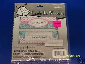 Pink & Aqua Bridal Shower Wedding Party Candy Wrappers
