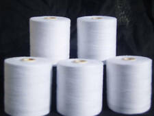 5 Large  White 100% Cotton Overlocker Thread 1,000 Yards Each
