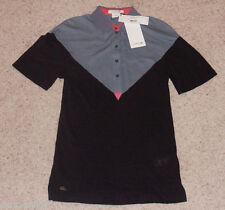 New LACOSTE $145 Polo Shirt CROCODILE LOGO silk cotton SZ 0 euro 32 Gray Black