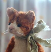 Miniature teddy Little cat Ginger. Ooak art doll