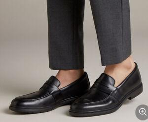 Men's Clarks Un Tailor View Loafer Shoes Black Size UK 9.5 EU 44 Brand New