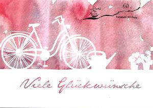 Kunstpostkarte - Fahrrad -  Viele Glückwünsche