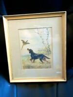 Paul Wood Signed Print Paris Etching Society Irish Sitter Dog & Rooster Pheasant