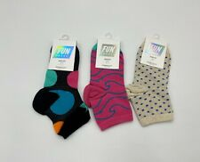 3 Pairs Fun Socks Anklet Crew Athletic Sports Sock Black Dot Pink Swirl Blue