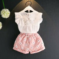 Toddler Kids Baby Girls Outfits Clothes Lace T-shirt Vest Tops+Floral Shorts Set