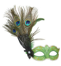 Ladies Green Peacock Eyemask Eye Mask With Feathers Masquerade Fancy Dress Clr
