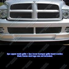 Fits 2004-2005 Dodge Ram SRT 10 Bolt Over Black Billet Grille Combo